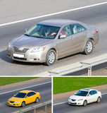 Three car on a road Stock Photography