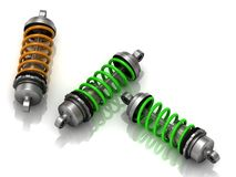 Three car shock absorbers Royalty Free Stock Image
