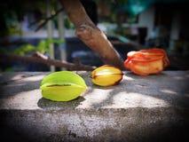 Three carambola raw ,mellow ,dried Royalty Free Stock Images