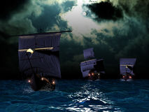 The three caravels. Columbus three caravels going to discover America Stock Image