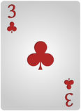 Three card clubs poker vector illustration