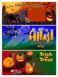Three Card Invitation to the Celebration of Halloween. Stock Photo