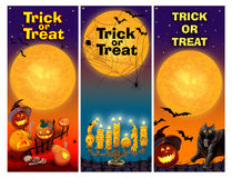 Three Card Invitation to the Celebration of Halloween. Trick or treat. Raster illustration. Vertical  flyer Royalty Free Stock Photography