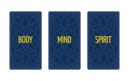 Three card tarot spread. Body, mind and spirit. Stock Photography