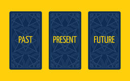 Three card tarot spread. Past, present and future Stock Photography