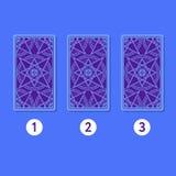 Three card tarot spread. Reverse side. Three card tarot spread. Tarot cards by reverse side. Numbers 1, 2, 3. Vector illustration Royalty Free Stock Images