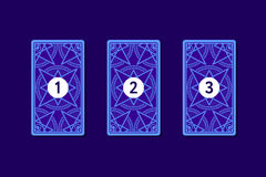 Three card tarot spread. Reverse side Stock Photography