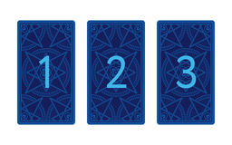 Three card tarot spread. Reverse side Stock Photo