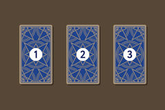 Three card tarot spread. Reverse side Stock Photos