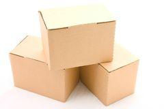 Three cardboard boxes. Isolated on white background Stock Image