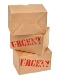 Three cardboard boxes againt white Stock Image