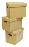 Three cardboard boxes with handles Stock Photo