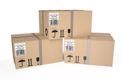 Three cardboard boxes Stock Photo