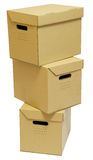 Three cardboard boxes stack. Brown cardboard boxes stack for a moving day Royalty Free Stock Photography