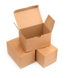 Three cardboard boxes on white Royalty Free Stock Images