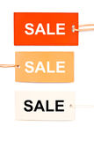 Three cardboard sale tags isolated Royalty Free Stock Photography