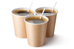 Three cardboard vending coffee cups Royalty Free Stock Photos