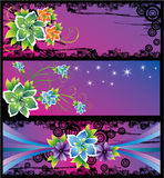 Three cards with abstract flowers. Three purple cards with abstract flowers, , illustration Royalty Free Stock Image