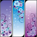 Three cards with abstract flowers. Three purple cards with abstract flowers, , illustration Stock Photography