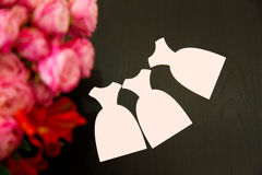 Three cards in the form of pink dress Royalty Free Stock Image