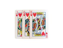 Three cards of heart set of Jack, Queen, King card arrange overlap isolated on white backg. CHIANGMAI, THAILAND - NOVEMBER 7, 2018: Three cards of heart set of stock photo