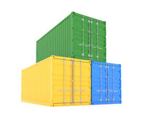 Three cargo container. 3d render of color cargo containers on white background Royalty Free Stock Photography