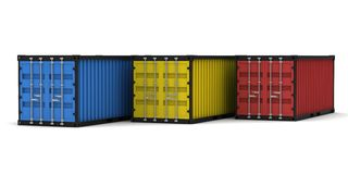 Three cargo container Royalty Free Stock Photo
