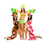 Three carnival dancers posing Royalty Free Stock Image