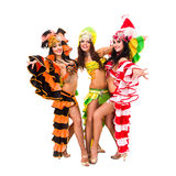 Three carnival dancers posing Stock Photography