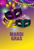 Three carnival masks and feathers on a colorful background for Mardi gras. Greeting card, banner or poster with shining beads. Vector illustration royalty free illustration