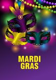 Three carnival masks and feathers on a purple background for Mardi gras. Colorful greeting card, banner or poster with shining. Beads. Vector illustration vector illustration