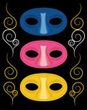 Three carnival masks. Set of three carnival masks stock illustration