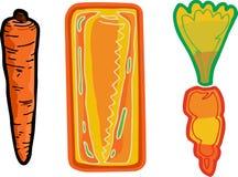 Three Carrots. Three cartoon variations of a typical long carrot Stock Photos