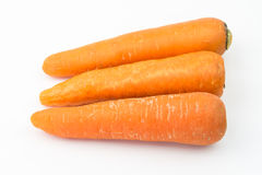 Three carrots on white background. Three orange carrot on white background Royalty Free Stock Photo