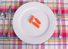 Three Carrots on White Plate Royalty Free Stock Photos
