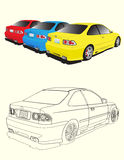 Three cars. Red, blue and yellow car Royalty Free Stock Images