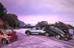 Three cars accident. Crashed on the road on location royalty free stock photography
