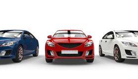 Three Cars Front View Royalty Free Stock Images