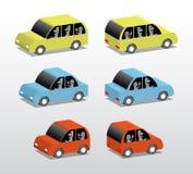 Three cars. Set of small colored cars,  cartoon 3d illustration Royalty Free Stock Photo