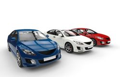Three Cars Showroom Stock Photography