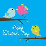 Three cartoon birds. Happy Valentines Day card. Stock Image