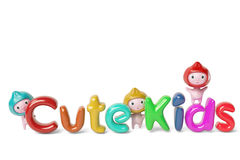 Three cartoon boy and the cute kids letters,3D illustration. Stock Images