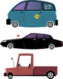 Three cartoon cars. Set of three cartoon car illustration: minivan, limousine and a pick-up truck, isolated on white, EPS 8, no transparencies Royalty Free Stock Photography