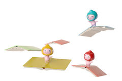 Three cartoon children standing on the flying books,3D illustrat Royalty Free Stock Photography