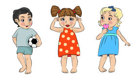 Three cartoon children Royalty Free Stock Image