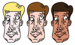 Three cartoon faces Stock Photo