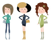 Three cartoon fashionable young women Royalty Free Stock Photo