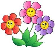 Three cartoon flowers vector illustration