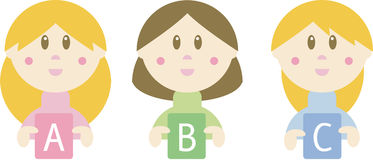 Three cartoon girls holding ABC letters. Three friendly cartoon girls holding the letters a, b and c in their hands stock illustration