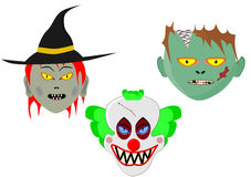 Three cartoon halloween heads Royalty Free Stock Photos
